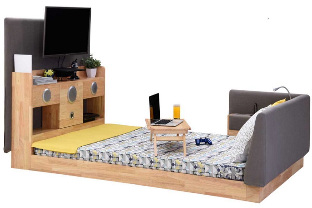 This Piece Of Furniture Includes A Bed As The Base, Couch Cushion As  Headboards With Adjustable Reading Lights On The Side, 2:1 Channel Speakers  At The End ...