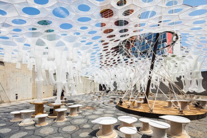 Interactive Woven Canopy At MoMA PS1 Changes Colors As The Sun Sets