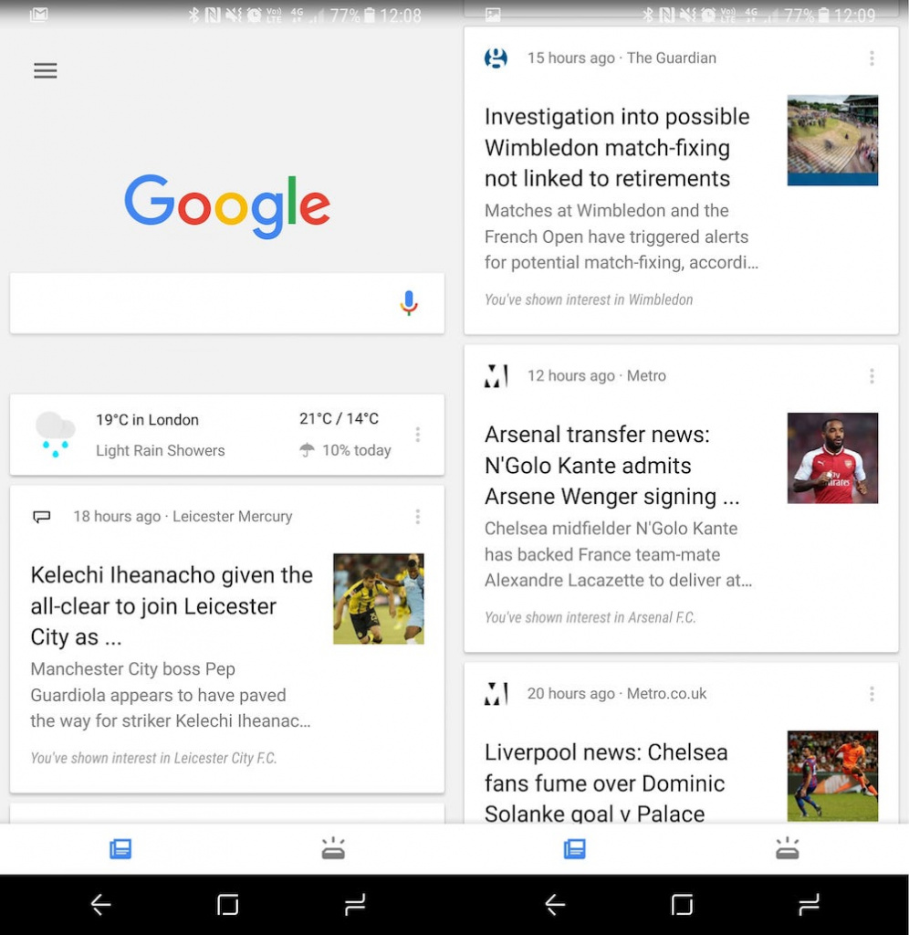 The existing Google feed on an Android device