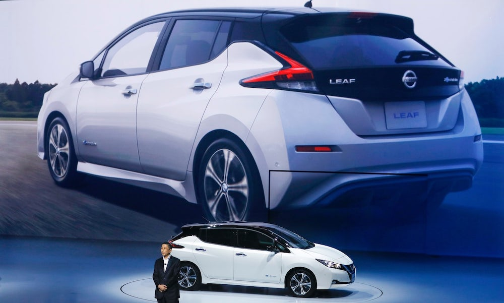 The 2018 Nissan Leaf has a new more aggressive look
